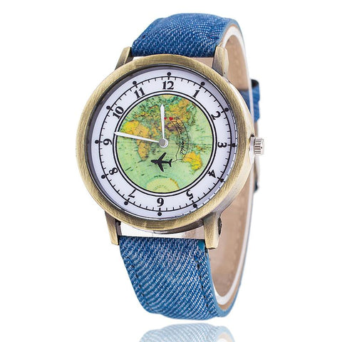 Global Travel By Plane Map Denim Fabric Band Wrist Watch