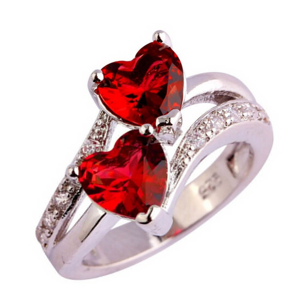 Imitation Zircon Silver Plated Double Love Heart Ring US Size 6-9 Blue Red