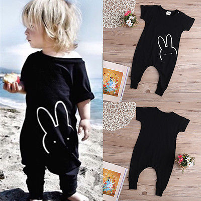 Kids Short Sleeve Bunny Romper Toddler Jumpsuit