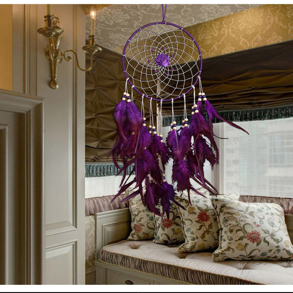beautiful wedding decor purple feather dream catcher