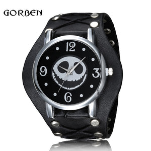 Nightmare Before Christmas Skull Punk Style Wristwatch Leather Strap Quartz Men Watch H