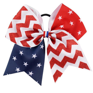 7'' Red Blue Ribbon With White Stars Large Hair Bow