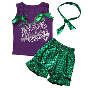 Girls Mermaid Kisses, Star Fish Wishes 3pc Outfit