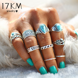 17KM 2 Color Rose Heart Midi Ring Sets Boho Beach Anillos Vintage Tibetan Flower Knuckle Rings