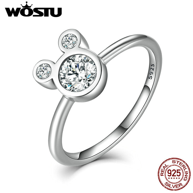 Cute Sparkling Mouse Ring (925 Sterling Silver)