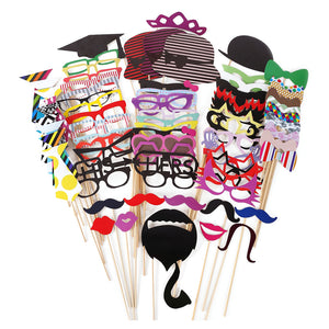 76Pcs/Set Colorful & Fun Photo Booth Props