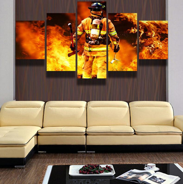 5 Panel Brave Hero Firefighters Canvas Wall Art