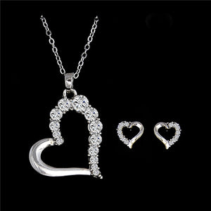 H:HYDE Splendid Silver Color nice heart shape Australia Rhinestone Chain Necklace + Earrings set