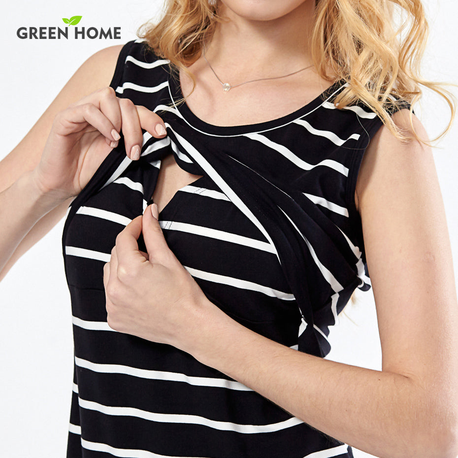 Cotton Striped Nursing Dress