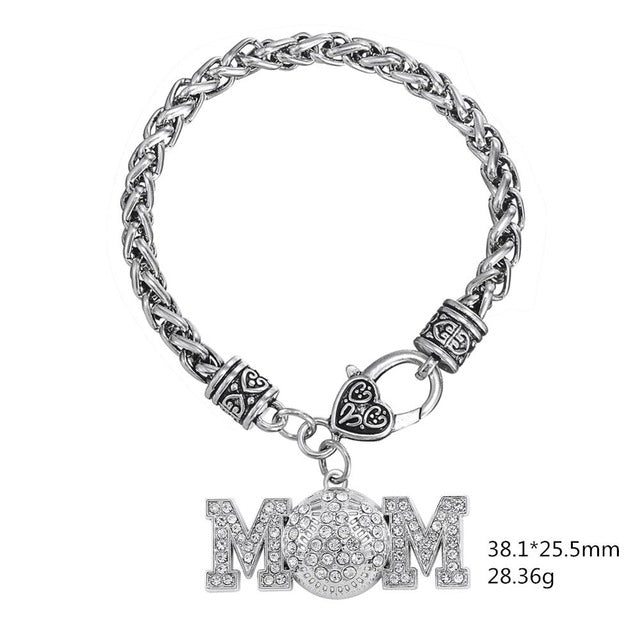 Crystal Baseball Mom Charm Bracelet