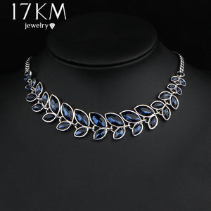 17KM 3 Color Leaves Crystal Choker Statement Necklace for Women