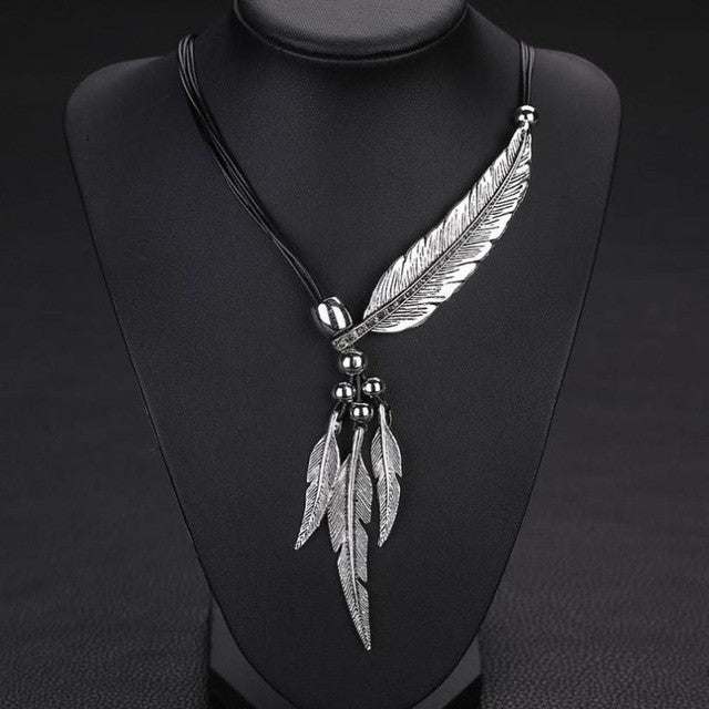 Alloy Feather Necklace