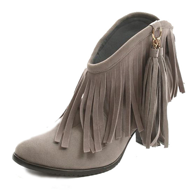 Fringe Ankle Boots (3 Colors Available)