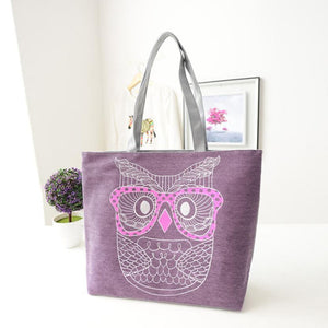 Owl Canvas Tote Shoulder Handbag