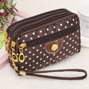 Polka Dot Canvas Zip Wristlet