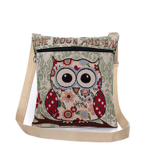 Embroidered Owl Print Shoulder Bag