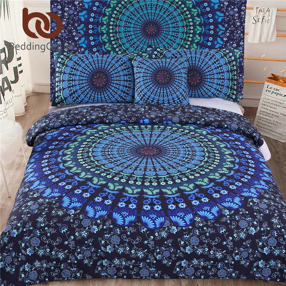 BeddingOutlet 5pcs Bed in a Bag Bedding Set Twin Full Queen King Blue Mandala Quilt Cover Exotic Pattern Home Textiles