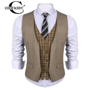 Business Style Men V-Neck  Patchwork Slim Fit 4-Button Business Suit Vest -US Size
