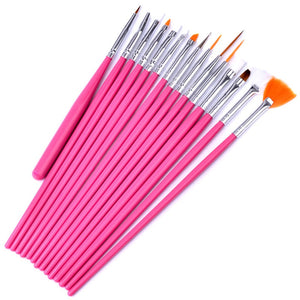 15pcs/set Nail Art Brushes Set Pink Black Decorations Gel Painting Pen Nail Art Brushes Professional Nail Equipment Drawing Tool