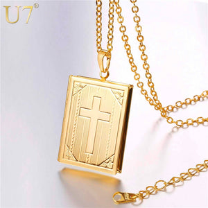 U7 Cross Locket Necklace Silver/Gold Color Trendy Jewelry Memory Photo Locket Necklaces