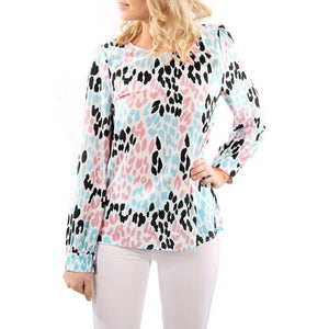 O Neck Color Leopard Print Long Sleeve