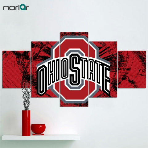 5 Pcs HD Print Canvas Painting Ohio State Buckeyes Logo Modern Home Wall Decor Painting Canvas
