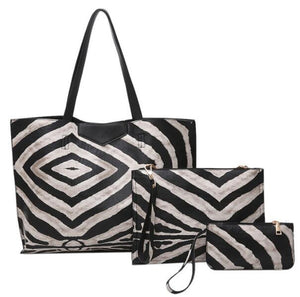 3 Piece Zebra Bags Set