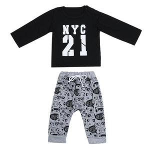 2pcs Infant Clothing Set Baby Boys Long Sleeve Letter Print T-Shirt + Panda Printed Pants Outfits Boys Autumn Casual Clothes