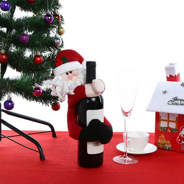 Christmas Wine Bottle Cover Snowman Santa Claus Doll Christmas Decoration for Home New Year Table Decor Supplies