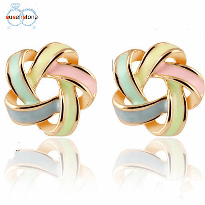 SUSENSTONE Women Luxury of Elegant Temperament Distorted Mode Color Earrings
