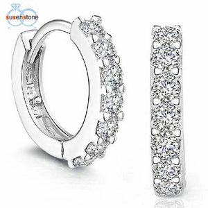 Dazzling Rhinestone Hoop Earrings (925 Sterling Silver)