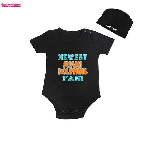 Culbutomind Newest Miami Dolphins Fan Kids Shirt or Baby Body suit Funny Baby Child boy Clothing Kid's Shower boy with CustomCap