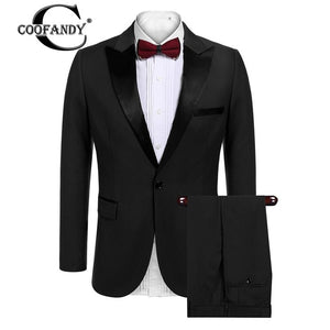 Long Sleeve 2-piece Suit Single-breasted Notch-lapel Slim Fit Tux