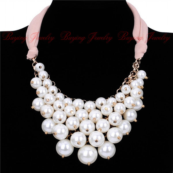 Pink Ribbon Chain Drop White Pearl Cluster Bib Necklace
