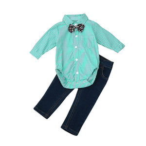 Baby Boys Outfit Clothes Infantil Tie Plaid Tops Shirt+Jeans Long Pants 1Set