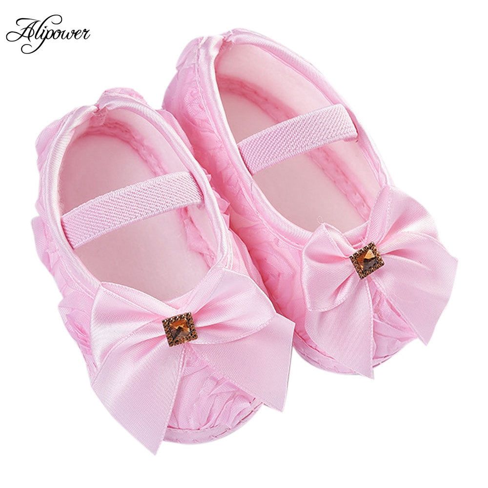 Baby Girls Ribbon Bowknot Infant Soft Sole Shoes