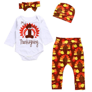 4pcs/set Thanksgiving Day Baby Clothes Newborn Boys Girls Cartoon Jumpsuit Tops + Pants + Hat + Headband Oufits
