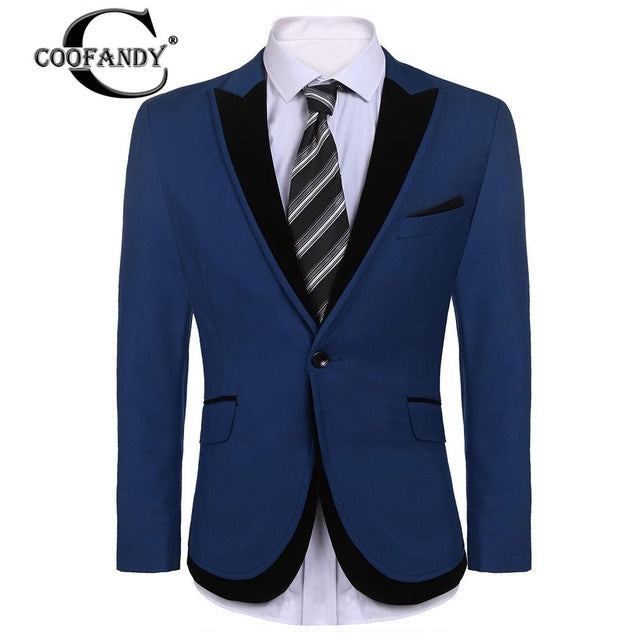 Patchwork Slim Fit Single Button Blazer Jacket US Size