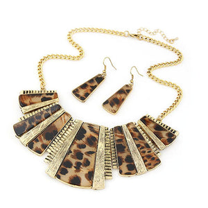 Bohemia Leopard Bib Chain Necklace+Earrings Set