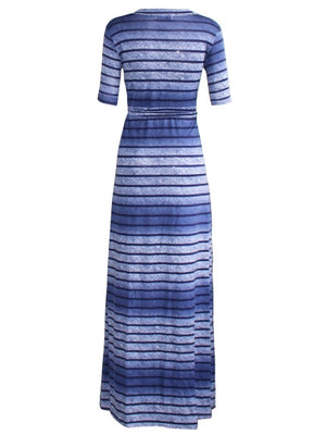 Blue Half Sleeve Plus Size Women's Maxi Dress