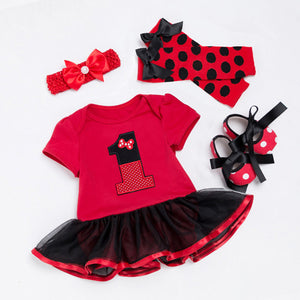 Red & Black Polka Dot Bow 1st Birthday Tutu Outfit