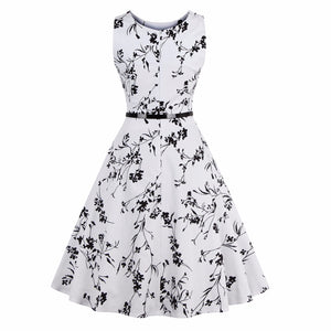 Black & White Vintage Floral Print Dress