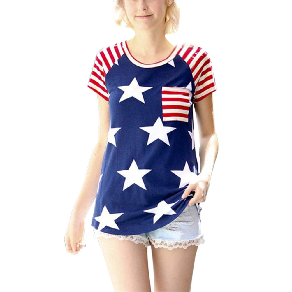 Women's American Flag Stars and Stripes Pattern Top