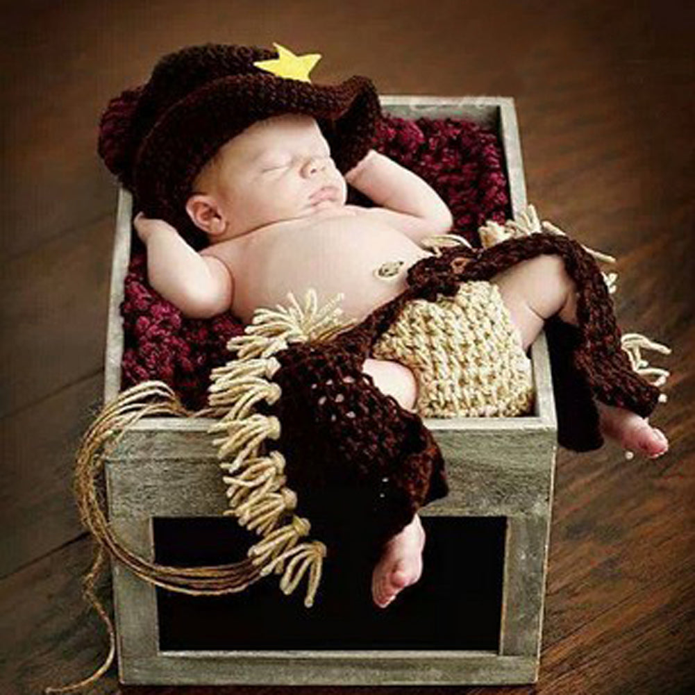Knitted Newborn Cowboy Photo Prop Costume
