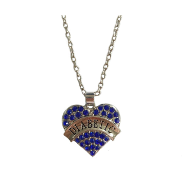 Diabetic Awareness Crystal Heart Necklace