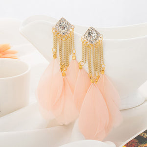 Bohemian Handmade Vintage Feather Rhinestone Long Drop Earrings