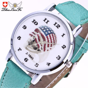 Flag Skull Leather Watch
