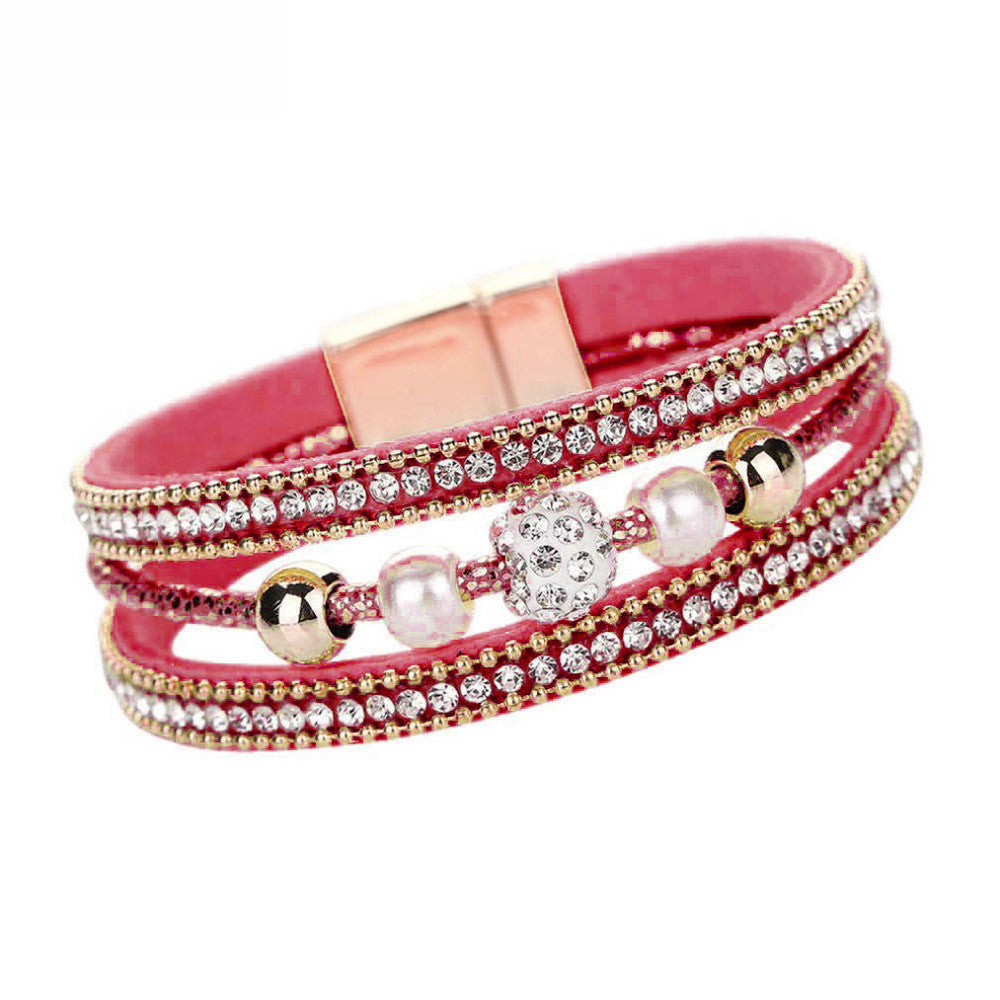 Crystal Beaded Magnetic Bangle Bracelet