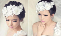 Floral Lace Pearl Bridal Headpiece
