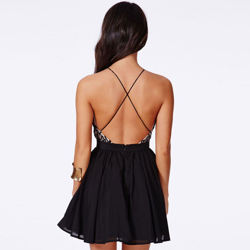 Black Backless Crochet Patchwork Party Dress